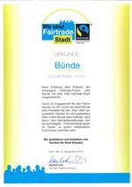Urkunde zur Auszeichnung Bünde ist eine Fairtrade-Stadt