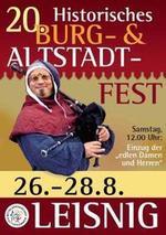 Externer Link: 20. Historisches Burg- und Altstadtfest in Leisnig: 26. bis 28.08.2016